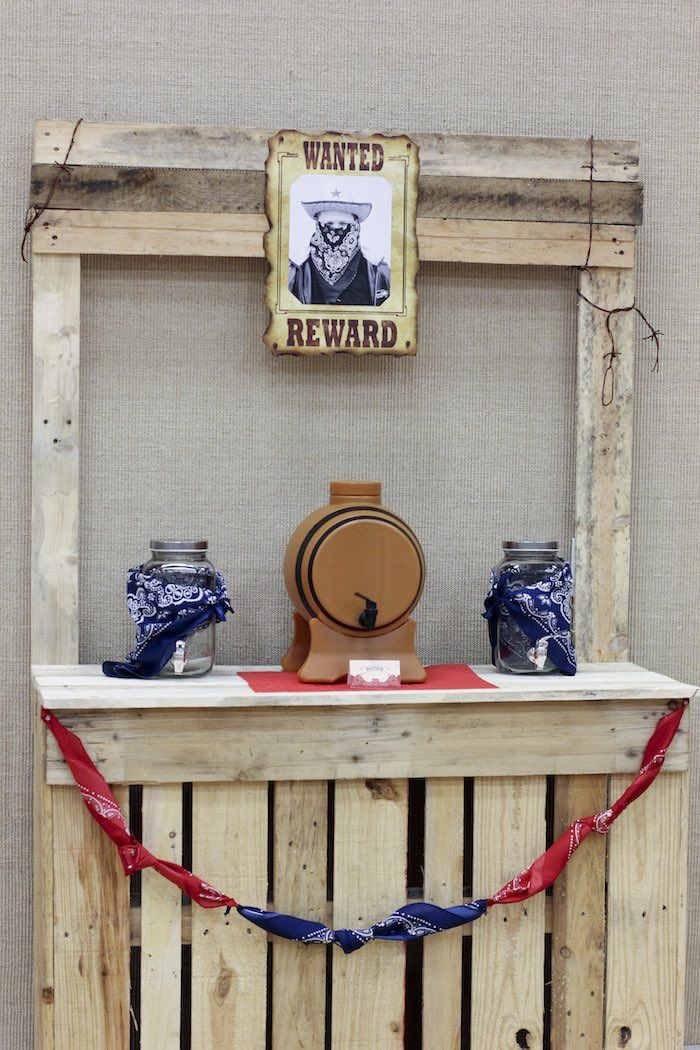Drink station from Western Themed Cub Scout Blue & Gold Banquet at Kara's Party Ideas. See more at karaspartyideas.com!