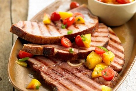 Grilled Ham Steaks with Peach Salsa - Recipe Detail
