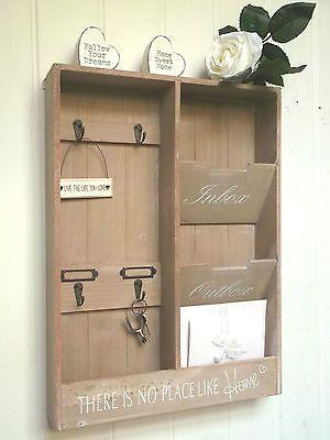 Shabby Chic Letter Rack Storage Key Hooks Holder Vintage Style Wall Mounted