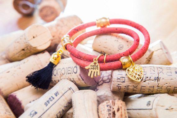 Cork Rope Bracelet Wrap Bracelet with Gold Plated by MindTheGrace