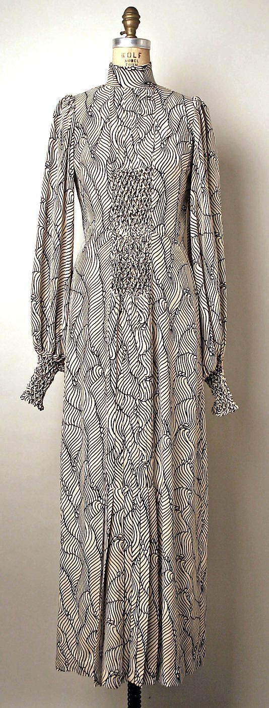 Printed silk evening dress, by Thea Porter, British, 1970-73.