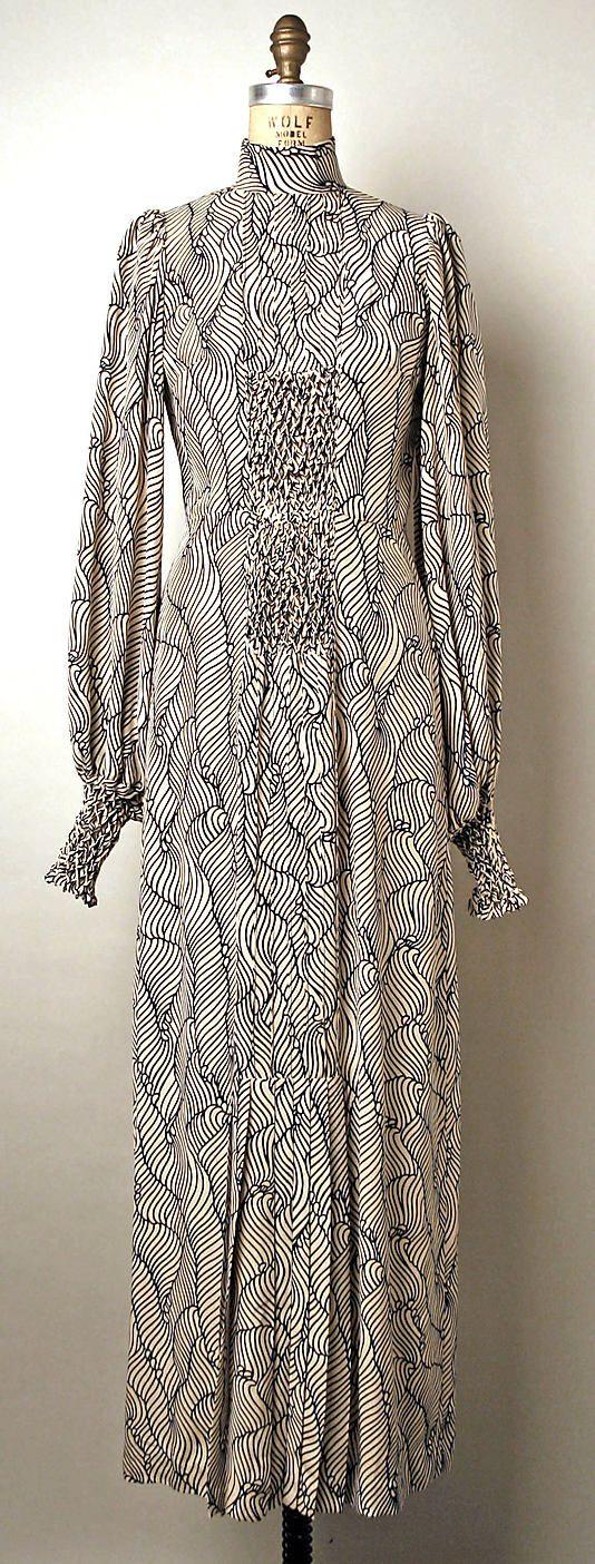 Printed silk evening dress, by Thea Porter, British, 1970-73.