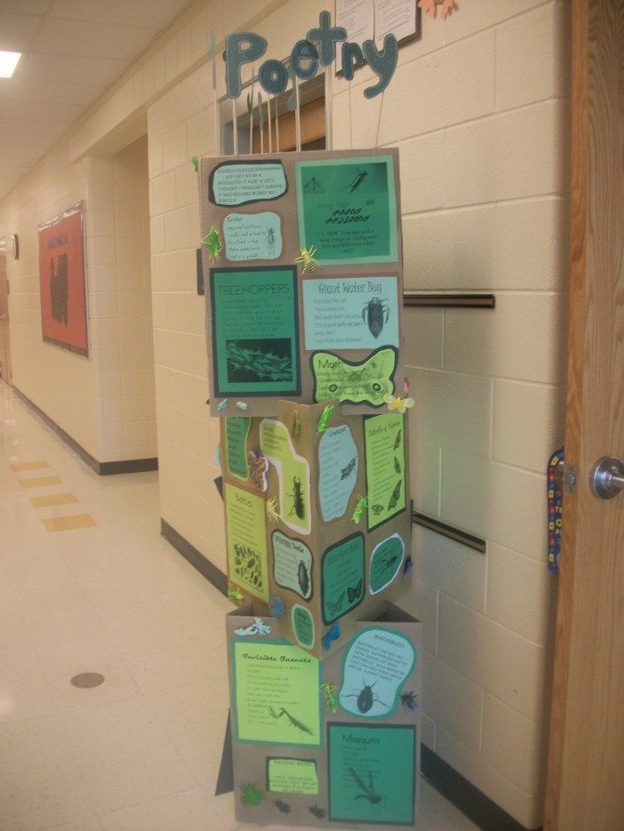 Themed towers for writing displays. I'll bet kids are more likely to read these than wall displays!
