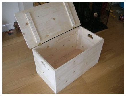 Storage box, paint and add fabric covered cushion. Use for shoe storage!