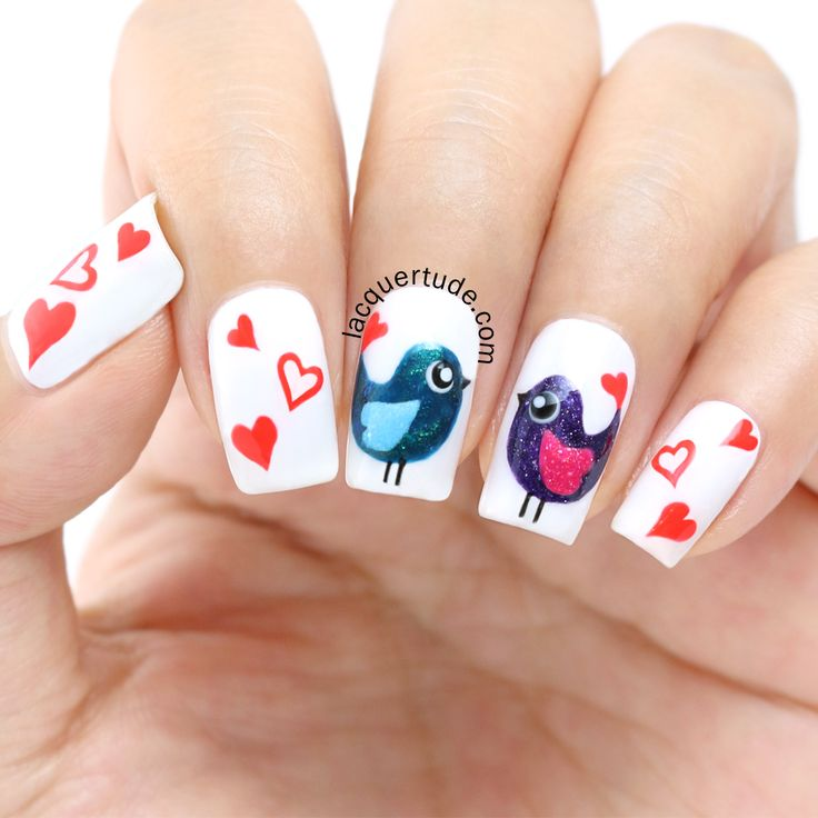 Tutorial: Valentine's Day Love Birds Nail Art & BornPrettyStore Nail Art Brushes Review | Lacquertude