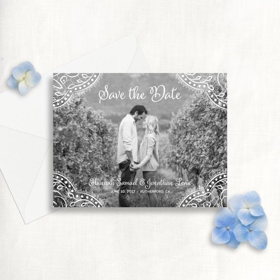 Photo Save the Date Card  Floral Lace Save the Date by JoanieandCo