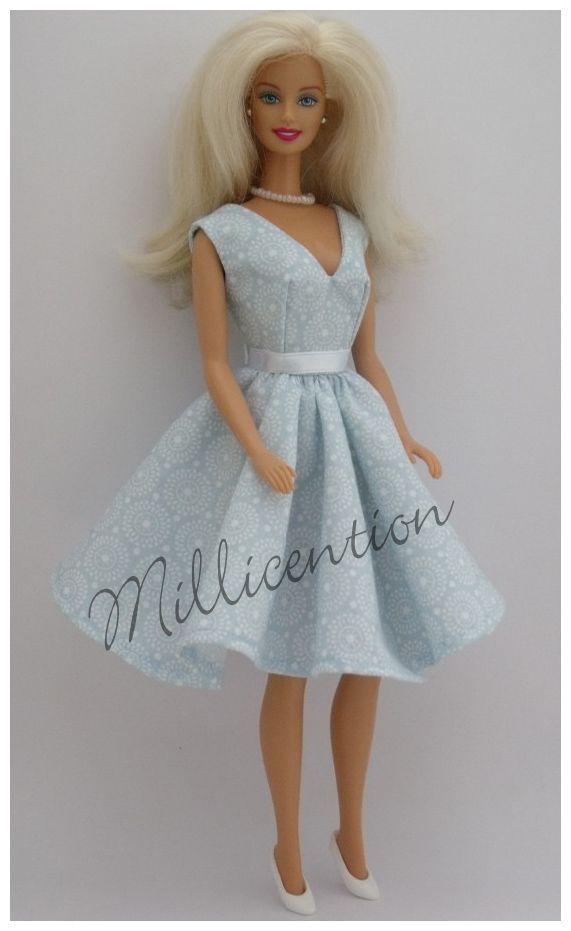 Pastel blue Barbie doll vintage dress