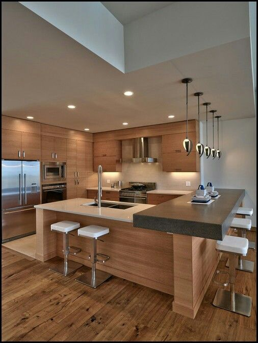 Mid-sized u-shaped contemporary open kitchen concept~