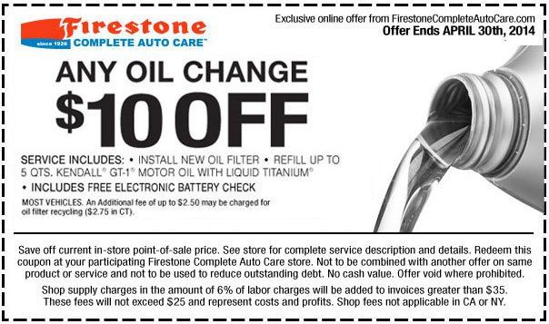 All Firestone coupons DECEMBER in one place! The newest Firestone Oil Change, Alignment or Brake service coupon that give you up to 75% OFF $ Firestone Car Care Package Coupon includes six services: Complete vehicle inspection 64 % of 66 recommend. GET DEAL. Deal.