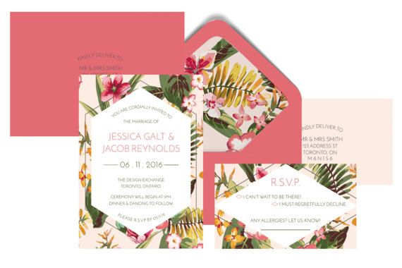Tropical Flower Wedding Invitation Suite by pulpandponder on Etsy #tropicalinvitation #floralinvitation #pink #green #triangle #customenvelope #tropicalflowers