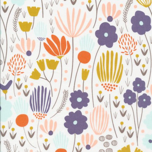 129600 Rich Meadow Ivory Quilter's Cotton from Morning Song by Elizabeth Olwen for Cloud9 Fabrics