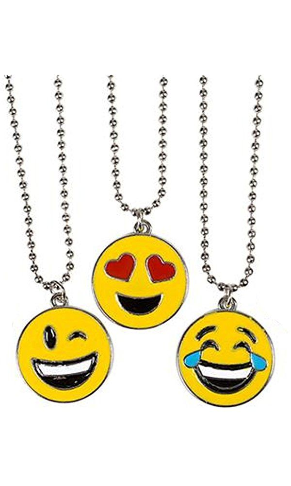 3 Pack of Emoji NECKLACE - Assorted Smiley Emoticon 16 inch Necklaces Best Price