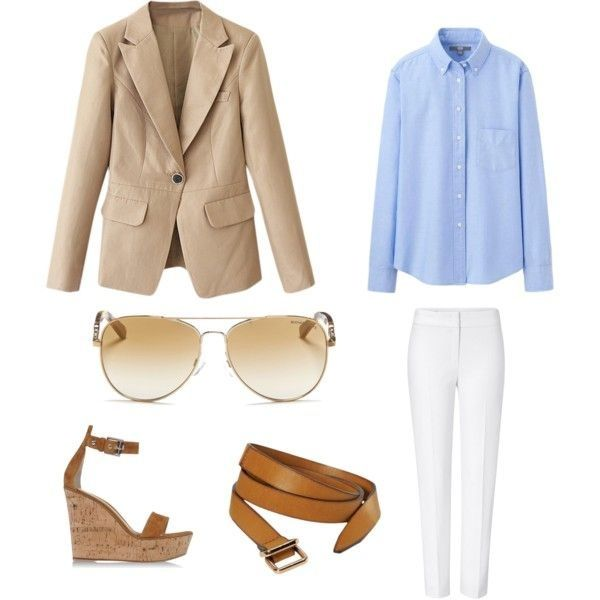 This is an outfit from my blog where I created three outfits all using the same blue oxford shirt (for women)! #fashion #fashionblog #blog #blogger #dallasblog #dallasblogger #dallasfashion #fashionblogger #blue #oxford #shirt #khakiblazer #khaki #blazer #brown #belt #brownbelt #wedges #sunglasses - Check it out: http://www.glamhive.com/look/55943bb9e4b0cb4c146d3b17