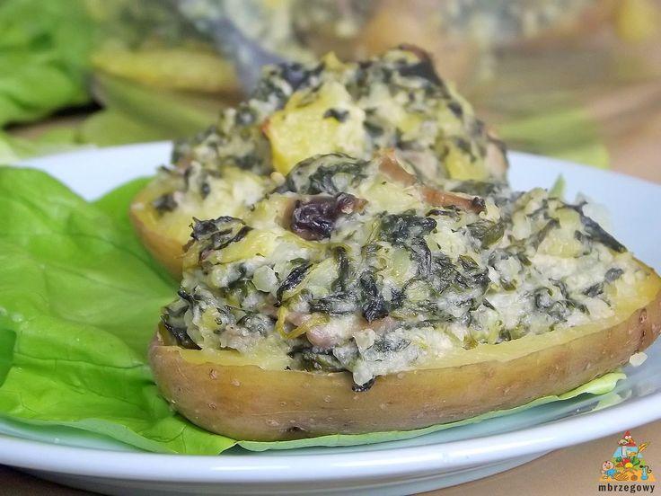 Pozytywne żywienie - dietetyka od przyjemnej strony: Pieczone ziemniaki nadziewane szpinakiem i pieczarkami