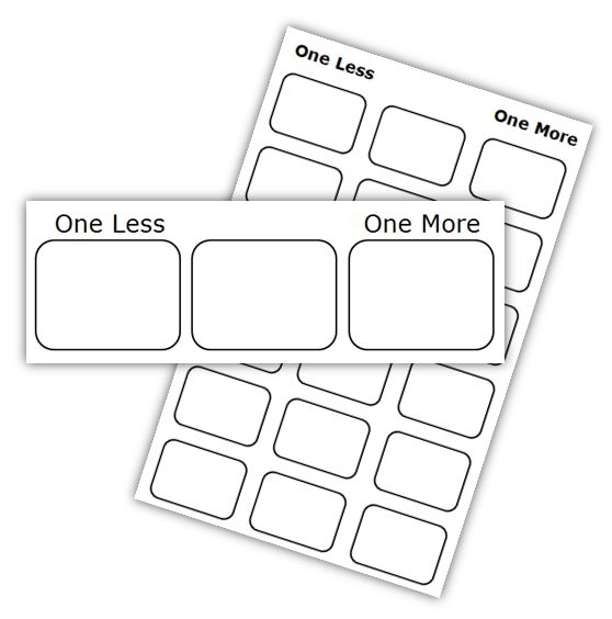 Math Coach's Corner: One More and One Less Freebie! Students practice the tricky skill of 'one more than' and 'one less than' with this easy prep workstation activity. Easy to differentiate, it also includes a recording sheet for assessment or accountability. Grab it for free!