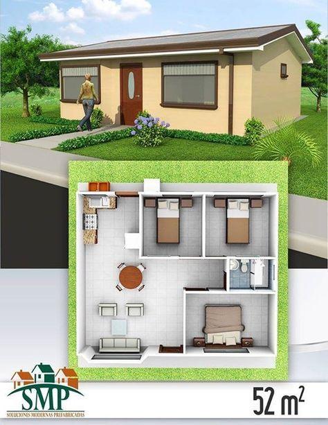 660 best casas minimas images on Pinterest Home ideas, Floor plans - plan maison plain pied 80m2