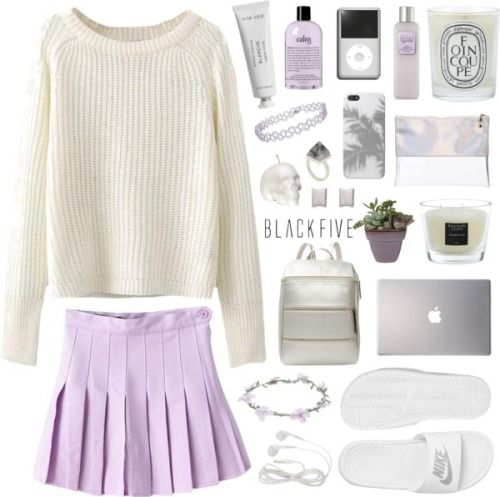 not your babe by jesicacecillia featuring a stone vaseRound neck sweater / Purple skirt / NIKE wide shoes, $25 / White bag / Clear pvc handbag, $31 / Topshop bracelet jewelry, $3.09 / Kelly Wearstler rutilated quartz ring / Tech accessory / Wet Seal floral crown / Byredo body moisturizer / Laura Mercier body cleanser / Philosophy beauty product / Diptyque glass container / Baobab Collection tropical home decor / Ceramic clay pot / LSA International stone vase / White Stereo Earphones for ...