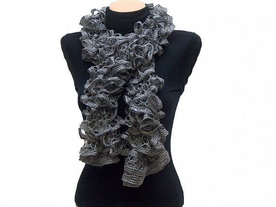 Hand knitted Gray ruffled scarf with colorful sequins by Arzus, $19.90