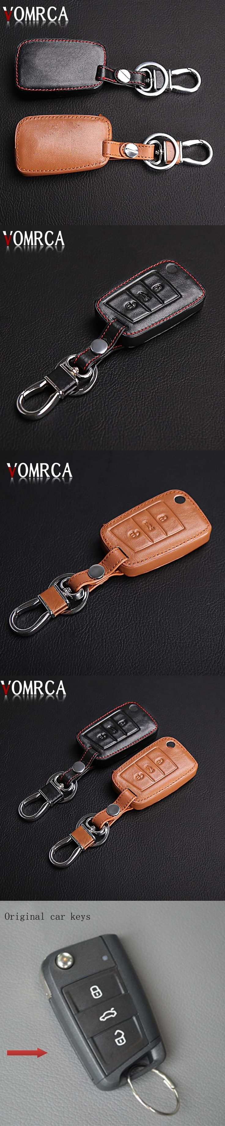 High Quality Leather Car Key Cover for Volkswagen VW GOLF 7 GTI MK7 for Skoda Octavia A7 combi RS A 7 Remote Key Chain