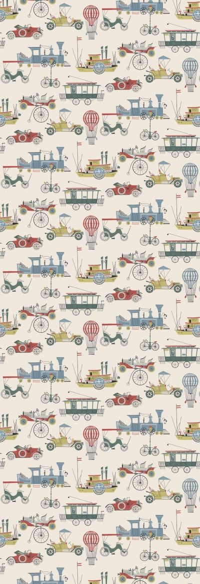 Lilleby Kids  (2692) - Boråstapeter Wallpapers - Old fashioned cars, boats and trams, trains and bicycles in an all over multi coloured pattern - supplied as a single panel wallcovering in one length, 90cm wide and 265cm long. Paste the wall.