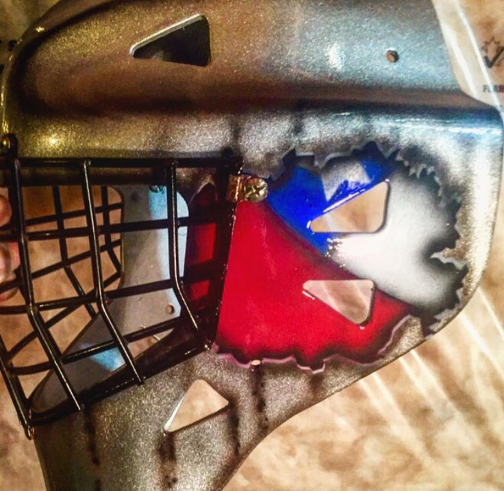 Old goalie mask getting a second shot at life... Airbrushed