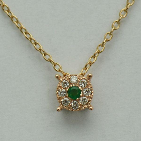 Lant si pandantiv din aur roz cu smarald si diamante