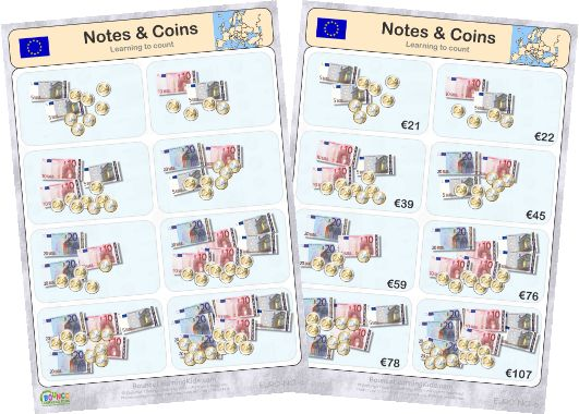 Learn to recognise and count EURO banknotes & coins - counting banknotes & coins 1