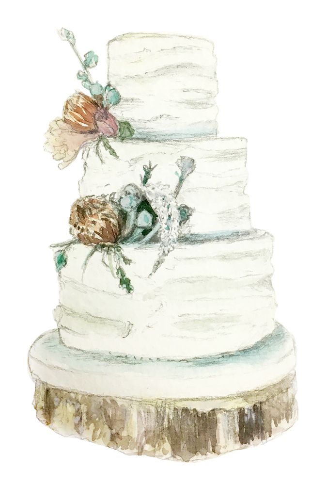 Wooded Flowers Wedding Cake Watercolor Illustration Art Print By
