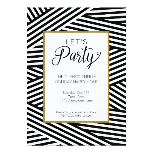 Ribbon Striped Party Invitation - Zazzle - c*paperie (Black and white, invite, invitation, party, christmas, holiday, new year's eve, cocktail party, rehearsal dinner, happy hour, wine party, modern, graphic)