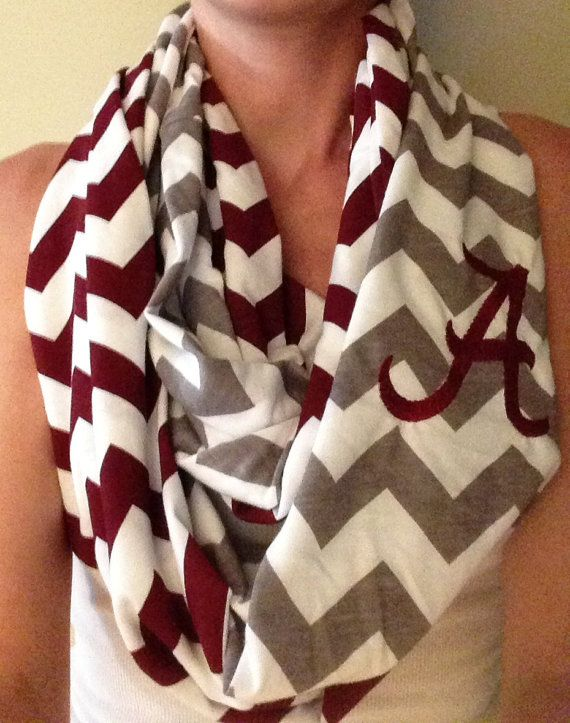 Alabama / Roll Tide Team Spirit Chevron Infinity Scarf SET (2 scarves) with team designs/monogram, Jersey Knit