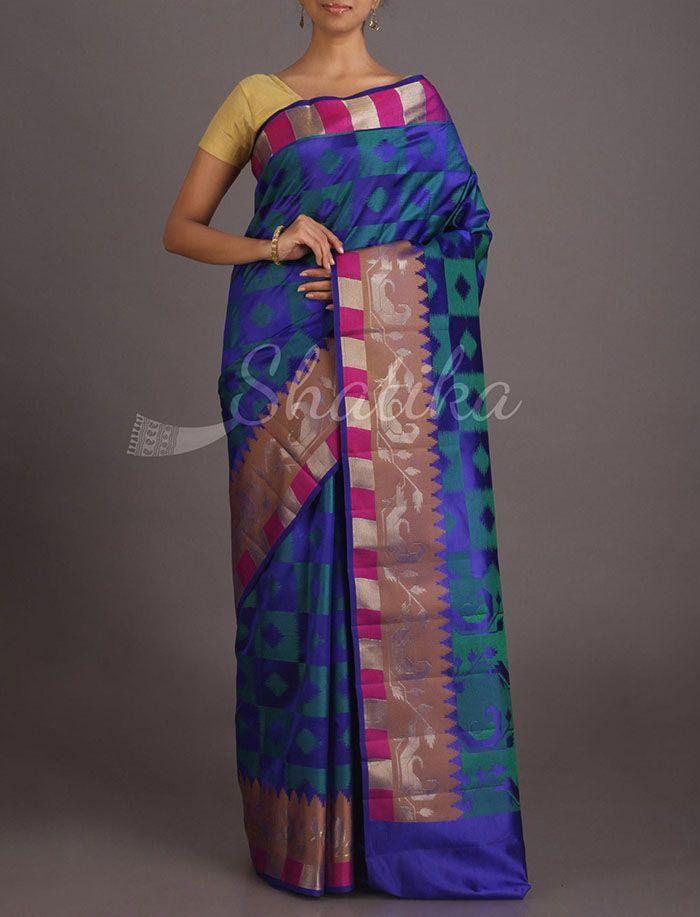 Meera Diamond-O-Block Pure Banarasi Tussar Silk Saree