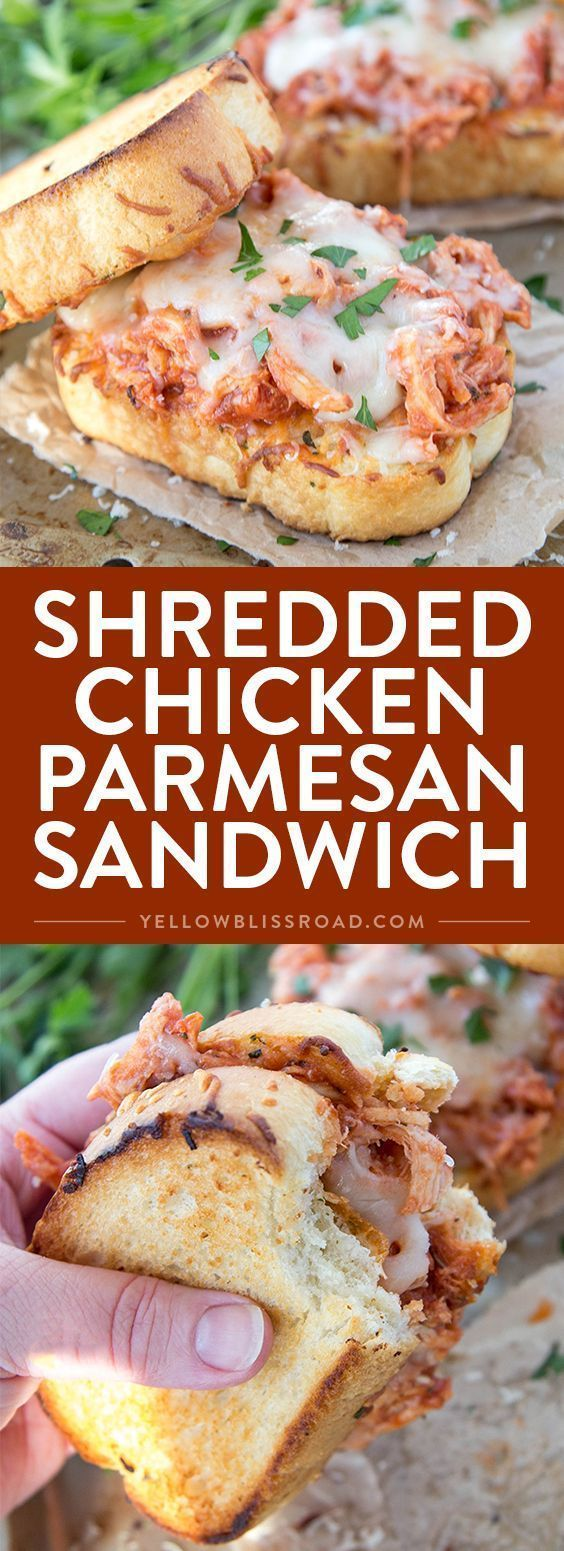 Shredded Chicken Parmesan Sandwich - Incredibly delicious and easy dinner recipe that's ready in under 15 minutes! #chickensandwich