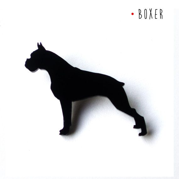 Boxer brooch for dogs lovers made of black methacrylate