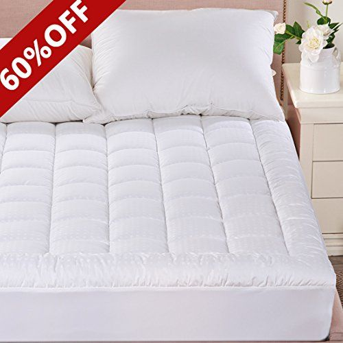 Merous Full Size Cotton Hypoallergenic Fitted Quilted Mattress Pad Topper - Stretches up to 18 Inches Deep  Full mattress topper measure 54 inches by 75 inches, knitted skirt fit any mattresses up to 18 inches including innerspring, latex or memory foam  hypoallergenic down alternative fiber filling without the feathers, poking or allergies provides extra comfort, protection and gentle back support, soften your old mattress, enjoying a restful night's sleep  300 thread count cotton top...
