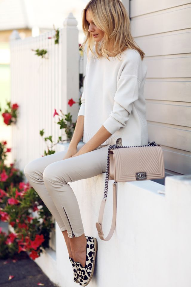 White on White Leather, Leopard Flats, Chanel Boy Bag  (via Bloglovin.com )