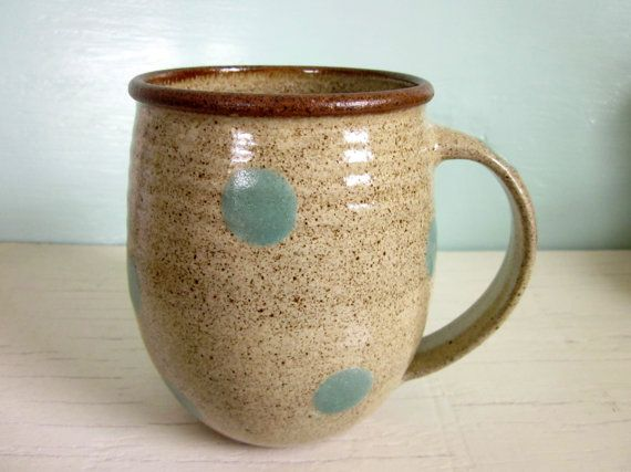 made to order  pottery coffee mug turquoise by JDWolfePottery, $24.00Polka Dots, Turquois Polka, Pottery Coffee, Turquoise Polka, Cute Mugs, Blue And Mocha Polka, 26 00, Order Pottery, Coffee Mugs