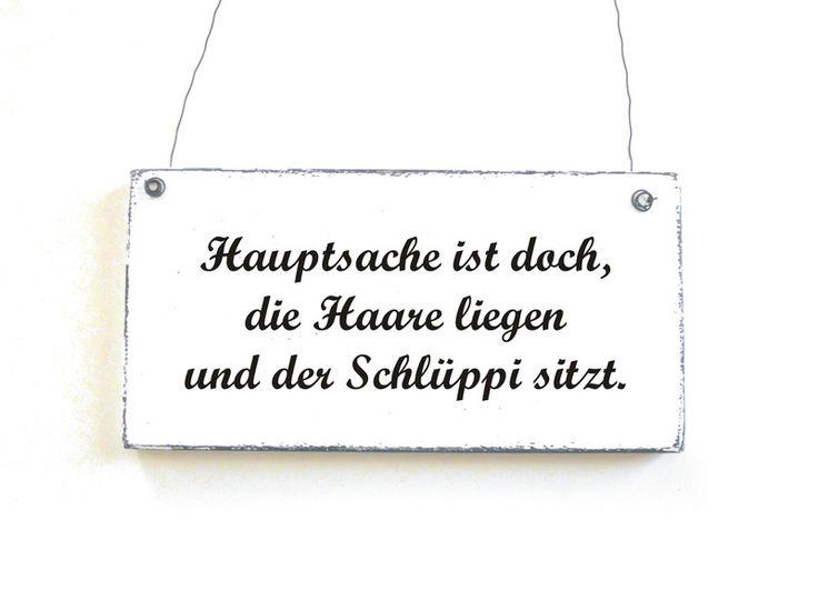 Dekoschild HAUPTSACHE DIE  HAARE LIEGEN Türschild  von DöRPKIND auf DaWanda.com