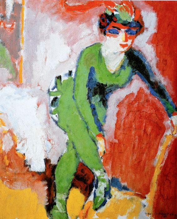Lafemme au collant vert, by Van Dongen