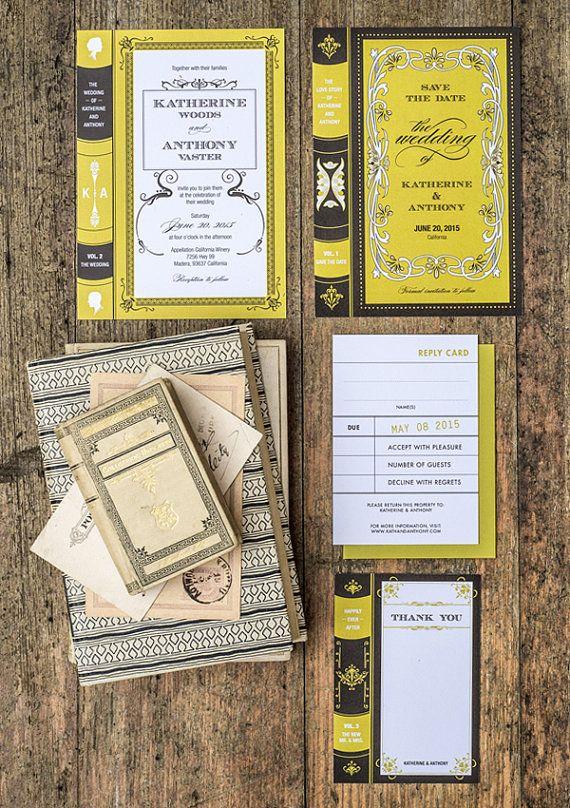 Set of 4, Book Wedding Invitation Printable Suite
