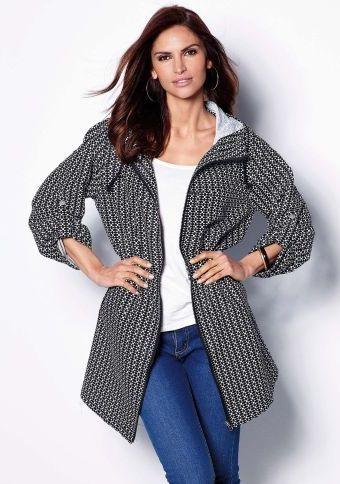 Parka s kapucí a geometrickým vzorem #ModinoCZ  #autumn #fall #fashion #trendy #stylish #fallfashion #moda #podzimnimoda #trend