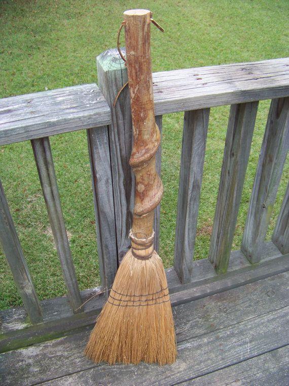 Vintage Rustic Straw Sweep Broom Witches Broom Besom