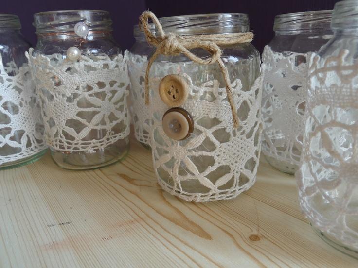 kisüvegek: mécses tartónak/virágoknak
