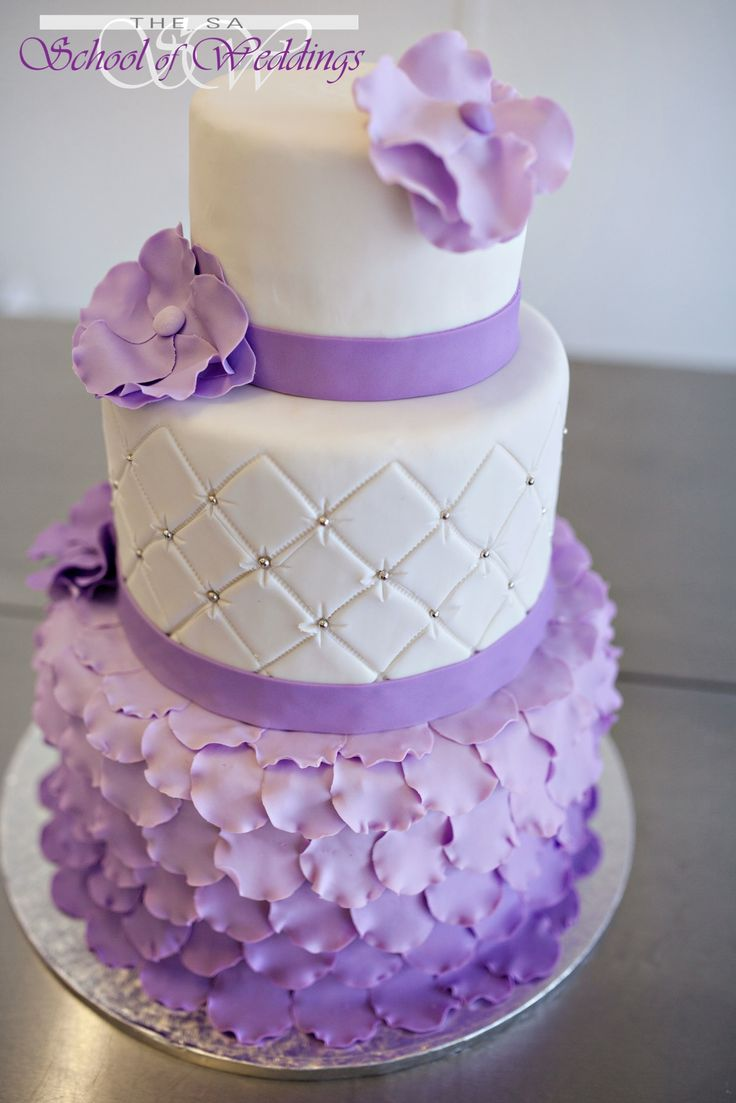 Purple Ombre Wedding Cake www.saschoolofweddings.co.za