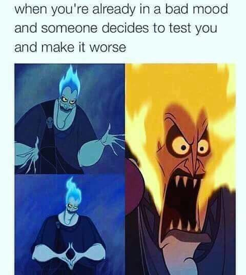 "Ok here's my thing. I loved the design for hades in this movie but the flames bother me. Blue flame is hotter than yellow/orange/red. I get that they did blue so he could be like ""I'm cool, I'm cool) and blue is a cool color but idk just tgevscience aspect of it. Like he acknowledges that when he gets angry the flames get hotter but the colors don't work"