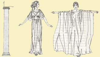 This image represents the old drawing of the Ionic Chiton from Ancient Greece, and this picture is connected to the image before, with the modern day Ionic Chiton. In Ancient Greece these garments were worn by both women and men, and were always fastened by many broaches and pins at the shoulder and along the sleeves. Just like the other garments, there was usually a belt involved somewhere in the middle to hold the dress in place, as well as draping the extra material over the belt.