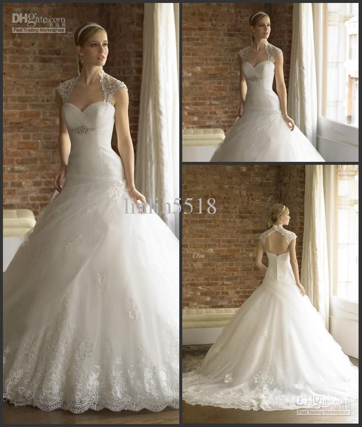 2016 Collection New Arrival Moonlight Bridal Tulle Wedding Dresses Gown Ball Applique Backless Dress With Jacket Custom Size