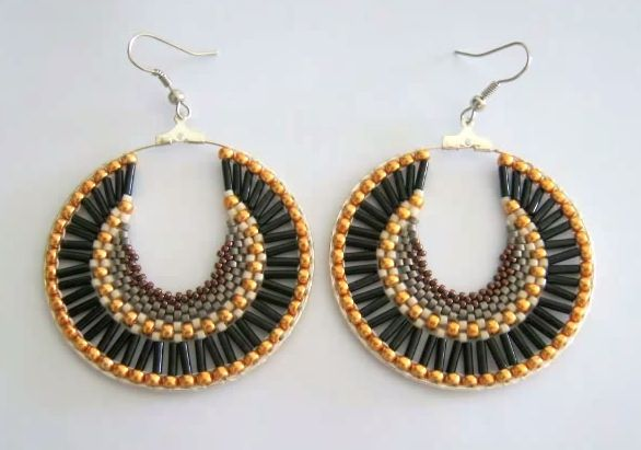 Free Beaded Brick Sch Hoop Earrings Tutorial Featured In Bead Patterns Newsletter