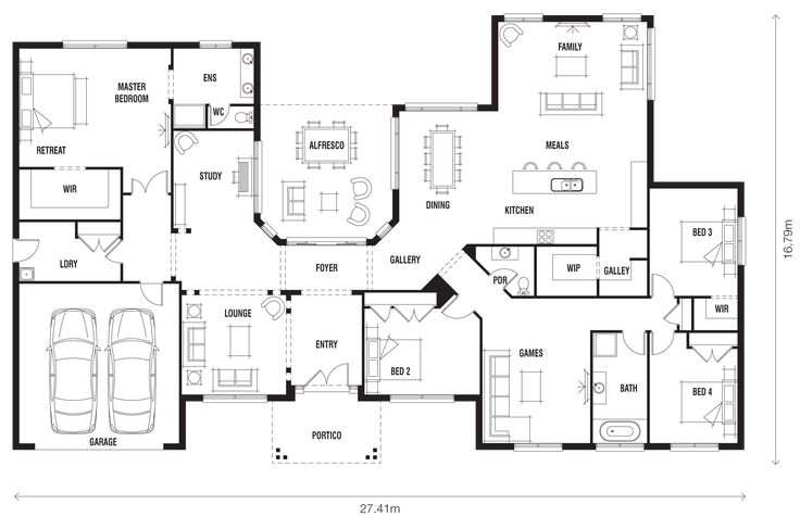 Here's a nice acreage plan for you. It's a ranch-style home and would suit many tastes and styles. It just depends on which facade you'd prefer.