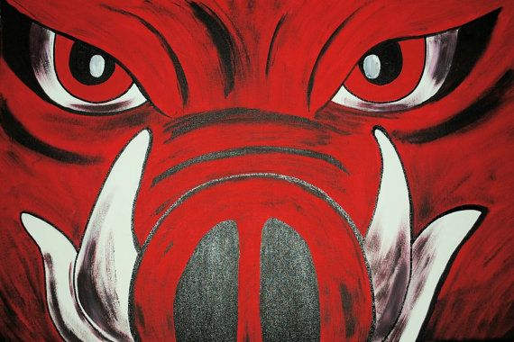 HOG CANVAS 16X20 Razorback Painting by kdsaDesigns on Etsy, $50.00