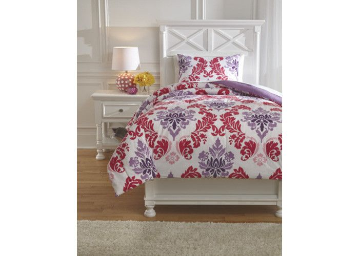 Q777001T Ventress Twin Comforter Set - Berry - Free Shipping!